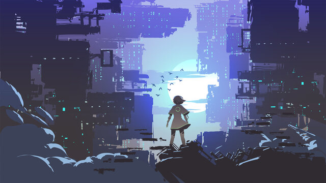 young girl standing and looking at the cyberpunk city, vector illustration
