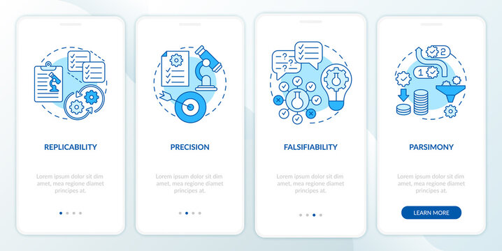 Scientific method requirements onboarding mobile app page screen with concepts. Falsifiability walkthrough 4 steps graphic instructions. UI vector template with RGB color illustrations