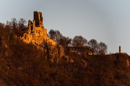 Burgruine Drachenfels im Siebengebirge in der Abendsonne