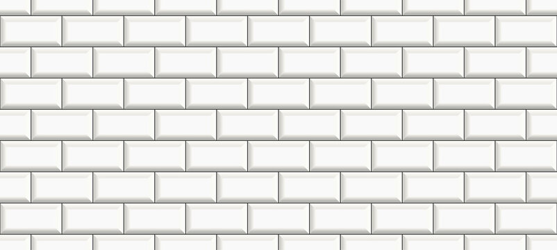 subway tile background. white brick seamless patter for kitchen backsplash, bathroom wall, shower. ceramic vector texture