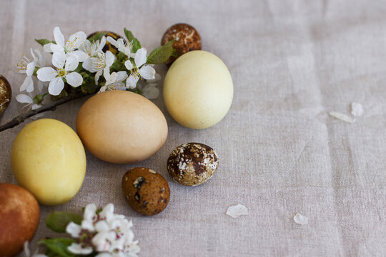 Modern pastel easter eggs with spring flowers on rustic linen cloth, space for text. Happy Easter!