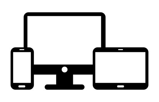 Devices Set. Smartphone. Tablet. Monitor PC. Vector Icons.