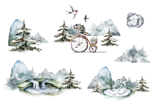 Watercolor set of mountain waterfall. Hand drawn watercolor isolated landscape with forest and mountains on white background