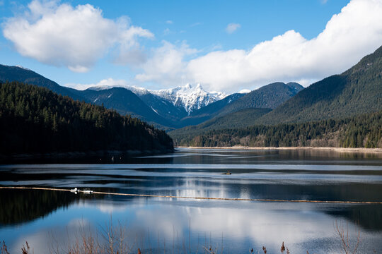 The Lions and Capilano Lake, February 2021. Boat permanently moved. - North Vancouver, BC Canada