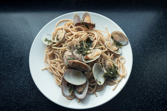 top view of homemade seafood pasta