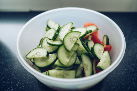 vegetable salad with cut tomatoes and cucumbers