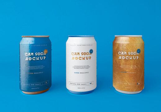 3 Soda Can Mockup