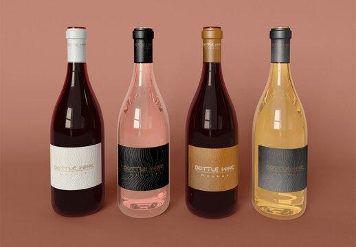 Four Bottle of Wine Mockup