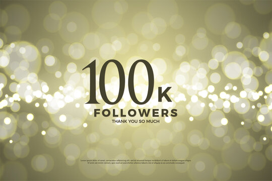 Thank you to 100k followers with numbers and gold paper backgrounds.