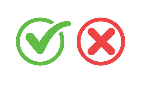 Check mark icons. Green tick and red x. Symbols of approval.