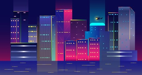 Neon glow buildings landscape with helocopture. City architecture illustration