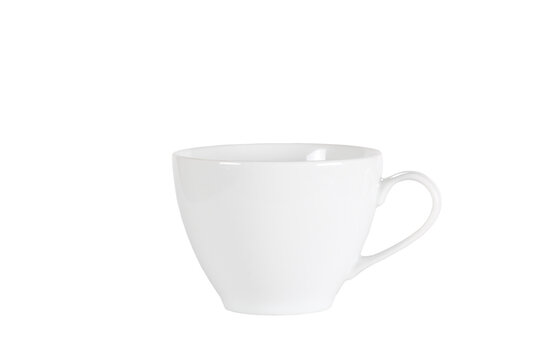 a white mug stands on a white background