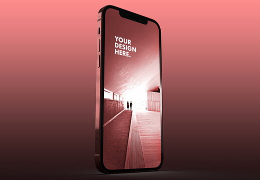 Pink Smartphone Mockup on a Rose Gradient Background