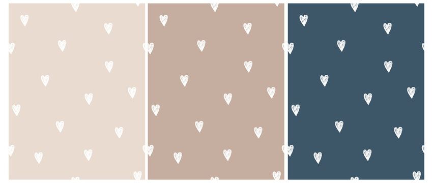 Cute Hand Drawn Irregular Romantic Seamless Vector Pattern. White  Hearts Isolated on a Light Cream, Dusty Brown and Dark Blue Background. Funny Infantile Repeatable Print.