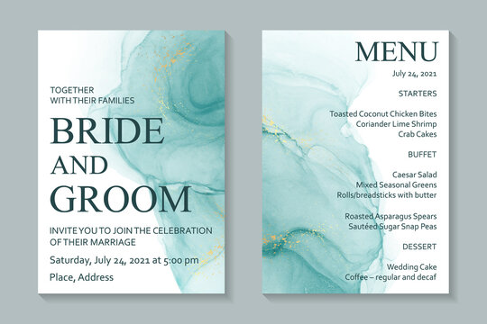 Modern abstract luxury wedding invitation design or card templates for birthday greeting or certificate or cover with turquoise watercolor waves or fluid art in alcohol ink style with gold on a white.