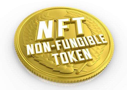 NFT Non Fungible Token Coin Crypto Currency Money New Form Currencies 3d Illustration