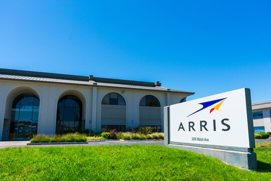 Arris sign near company headquarters. Arris is a subsidiary of network infrastructure provider CommScope - Santa Clara,California,USA - 2019