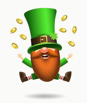 St. Patrick's Day Irish gnome with clover and beer. Vector Leprechaun illustration for banner, decor, or invitation to the pub. Isolated on white background.