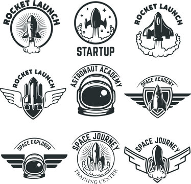 Space labels rocket launch astronaut elements and badges labels, space badges collection VECTOR, space 2021 EPS