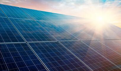 Fototapeta Solar power plant at sunset