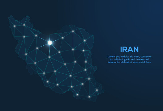 Iran communication network map. Vector low poly image of a global map with lights in the form of cities. Map in the form of a constellation, mute and stars