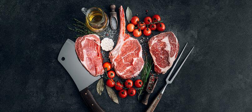 a variety of fresh premium beef steaks