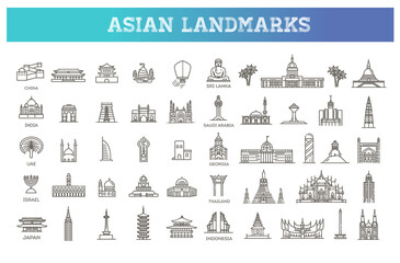 Fototapeta Simple linear Vector icon set representing global tourist asian landmarks and travel destinations for vacations obraz