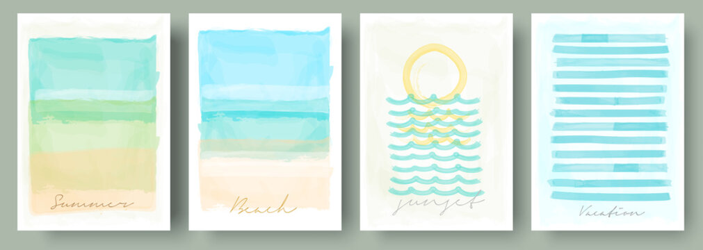Watercolor abstract backgrounds, vector , beach, sunset, sea. Set of creative minimalist hand painted illustrations for wall decoration. Pastel colors. Handwritten inscriptions.