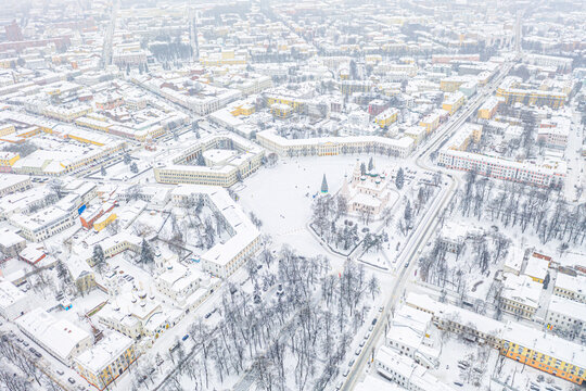 Aerial drone view of Orthodox Church of Elijah the Prophet and old city center in winter of Yaroslavl, Russia. Ancient russian city of the touristic Golden Ring.