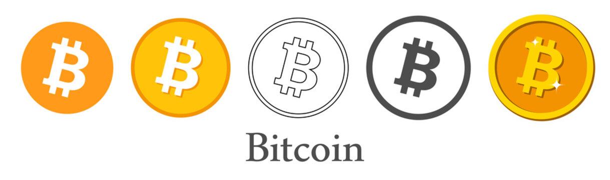 Set of orange bitcoin isolated icons.