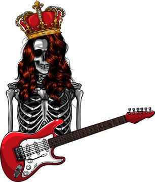 king human skeleton playing on electric guitar