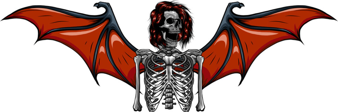 human skeleton with bat wings vector illustration