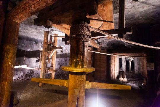 Wieliczka, Poland - March 11, 2020: Interior of various rooms in Wieliczka Salt Mine. Poland