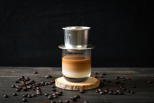 Hot milk coffee dripping in Vietnam style