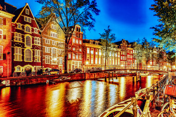 Beautiful Amsterdam city at the evening time.