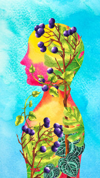 human head mind mental health spiritual abstract art healing positive body soul chakra therapy watercolor painting illustration digital collage design flower fantasy surreal face inspiring imagine