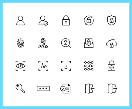 authorization linear icons and color icons. login, logout, password, key, lock. Set of pattern, recognition symbols drawn with thin contour lines. Vector illustration.