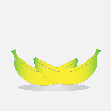 Yellow, realistic banana on a white isolated background.
