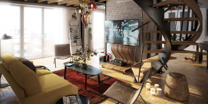Attic Loft Conversion With Spiral Staircase & Home Cinema - panoramic 3d visualization