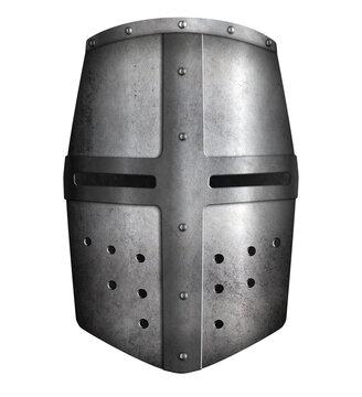 Crusader knights metal helmet isolated 3d illustration