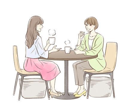 お茶する女性のペア