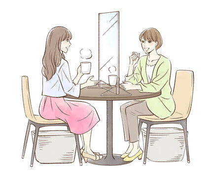 お茶する女性のペア_パーティションあり
