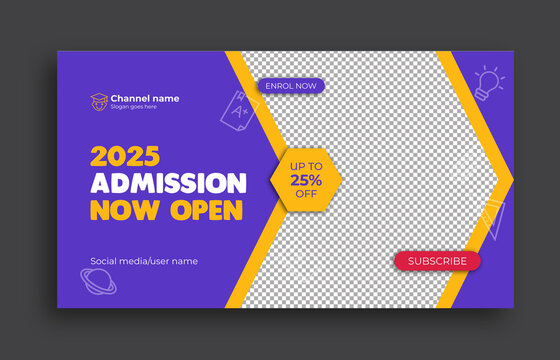 Kids School education admission Youtube thumbnail template