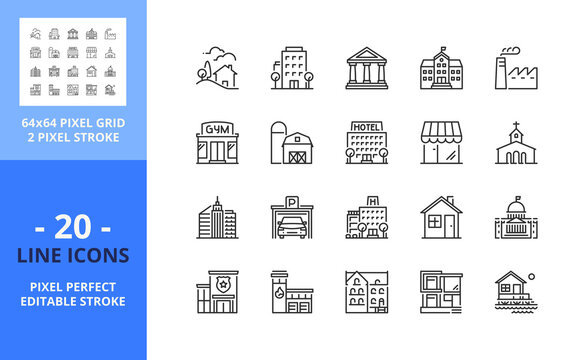 Line icons about buildings. Pixel perfect 64x64 and editable stroke