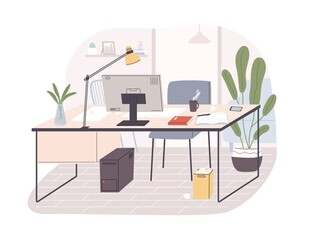 Modern home office interior. Remote workplace with desk, chair, computer and potted plants. Front view of empty working place with furniture. Flat vector illustration isolated on white background