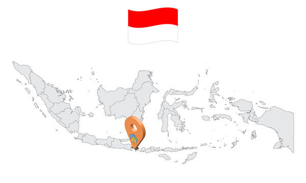 Location of Province Bali on map Indonesia. 3d Bali flag map marker location pin. Quality map with Provinces of Indonesia for your web site design, app, UI. EPS10.