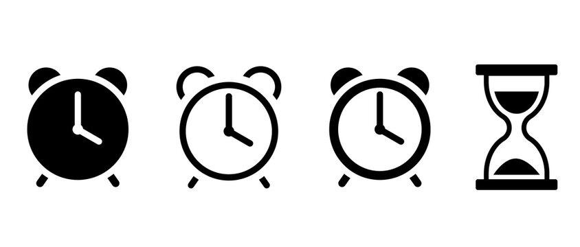 目覚まし時計と砂時計のアイコンセット