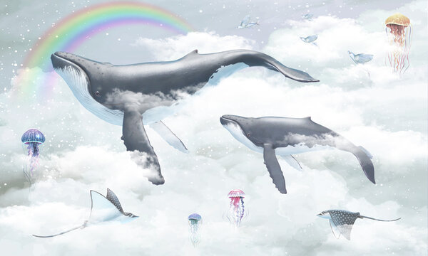 Children's wallpaper. Whales are flying across the sky. Sea animals in the sky.