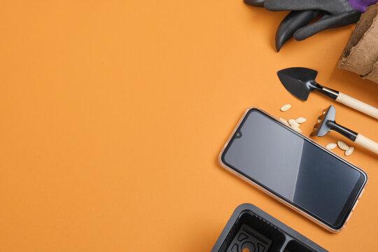 smartphone and garden equipment on brown background, gardener blog concept