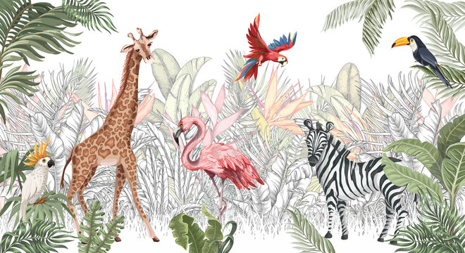 Wallpaper, fresco, mural. Hand drawn animals in the jungle.